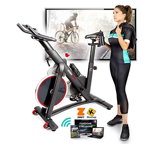 YM Bici da Spinning, Cyclette da Casa, Resistenza Magnetica Regolabile, Pedalata fluida, Display Computer LCD, Bluetooth + App ZWIFT e KINOMAP, Sella e Manubrio Regolabili, New Ergonomic Design 2020