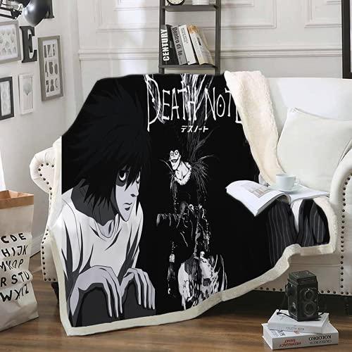 QWAS Manta Death Note con diseño de impresión 3D, se utiliza para sofá, sillón y cama, manta de sofá, manta de viaje (1,150 x 200 cm)
