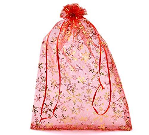 HooAMI 50-STK. 20cm x 30cm Rot Orange Organza Säckchen mit Gelb Schneeflocke Geschenkbeutel Beutel Weihnachten Säckli (Rot) (20cm x 30cm)
