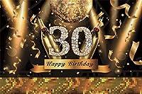 HD 7x5ftビニール写真背景ハッピー30歳の誕生日ゴールデンワードダイヤモンドシャンパンリボンスパンコール黒の背景に30歳の誕生日パーティーの装飾写真スタジオプロップ