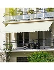 ML-Design klem zonnescherm 200 x 120 cm, beige, in hoogte verstelbaar, zonder boren, UV-bestendig, handmatig oprolbaar, gemaakt van metaal en polyester, zonnescherm met handslinger, balkon zonnescherm balkon