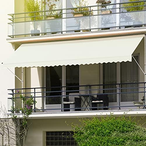 ML-Design Klemmmarkise 400 x 120 cm, Beige, höhenverstellbar, ohne Bohren, UV-beständig, Einziehbar Manuell, aus Metall und Polyester, Markise mit Handkurbel, Balkonmarkise Sonnenschutz Balkon