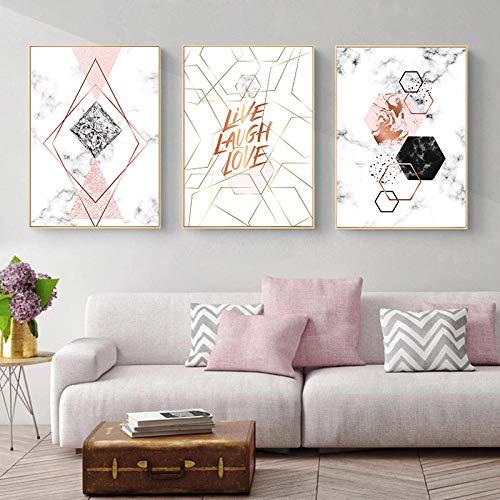 ZsBig6 Rose geometrisches Poster Abstrakt Marmor Malerei Zitate Druck auf Leinwand Nordic Moderne Wandbilder für Wohnzimmer Dekor 40 x 60 cm x 3 ohne Rahmen