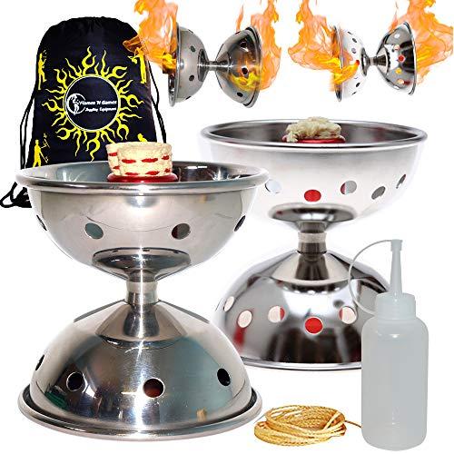 Fyrefli Profi Feuer Diabolos - Kometen- und Meteorfeuer-Diabolosets Kevlar Diabolo String + Flames N Games Tasche (Fyrefli Meteor Fire Diabolo Set + Flames N Games Travel Bag)