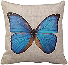 Doliving Throw Pillow Cover 18 x 18 Blue Butterfly Theme Decoration Pillow Case Cushion Cover for Sofa Couch Bed