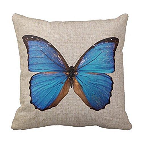 LoooL Retro Vintage Butterfly Home Couvre-lit décoratif Taie d'oreiller carré de 45,7 cm de côté en coton et lin Housse de coussin (1)