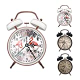 ERYTLLY Classical Twin Bell Alarm Clock for Bedroom with Stereoscopic Dial, Retro Vintage Analog Alarm Clock, Battery Operated Loud Alarm Clock by Retro Style for Home Office-White