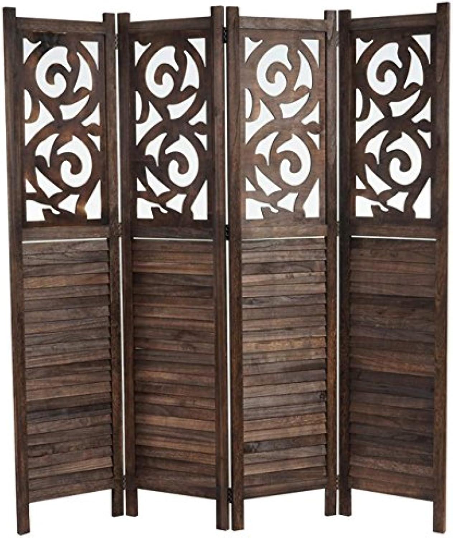 Mendler Paravent Istanbul, Raumteiler Trennwand Sichtschutz, Ornamente  170x160cm, braun