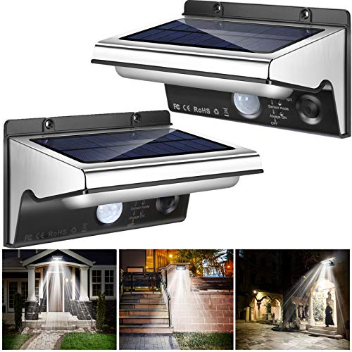 Solar Lights Outdoor Motion Sensor, ISKYDRAW Stainless Steel LED Solar Security Lights Waterproof Wall Lights for Yard Patio Garage Porch 3 Modes Super Bright