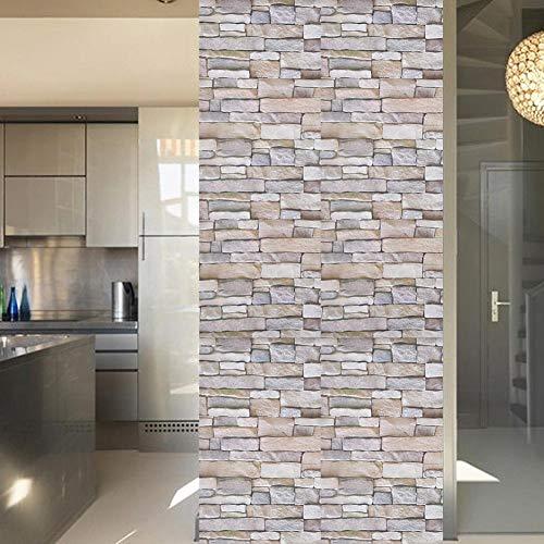fasient Steinhaut Tapete, wasserdichte Ziegel Stil umweltfreundliche Selbstklebende dauerhafte Wandaufkleber, 3D-Imitation strukturierte Steinmauer Außentapete für