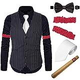 1920s Mens Gatsby Costume Accessories Set - Flapper Stripe Vest,Gangster Dress Suit Shirt & Armbands,Toy Fake Cigar,Tie,Pre-Tie,BK,XXL