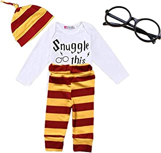 Baby Boys Girls Letter Print Rompers Bodysuit and Striped Pants Hat 4Pcs Outfit with Glasses