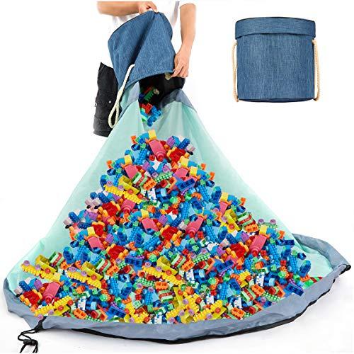 Spielzeug Aufbewahrungskorb Kinder mit Deckel, Aufbewahrungstasche für Lego Organizer Taschen Tragbare Spielmatte 150cm Großes Spielzeugsack 150cm - Schnellere Aufräumung (Blau)