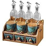 Eight Horses-S Tarro de Especias de cerámica Botella de vinagre de Aceite Crema de Almacenamiento de ollas de condimentos con Tapa, Cuchara y Bandeja, Juegos de 10