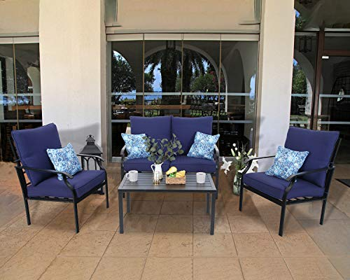 MFSTUDIO 4 Piece Outdoor Metal Furniture Sets Patio Cushioned Conversation Set with 4 Free Pillows for Porch, Lawn, (Loveseat, Coffee Table, 2 Single Chair),Navy-Blue