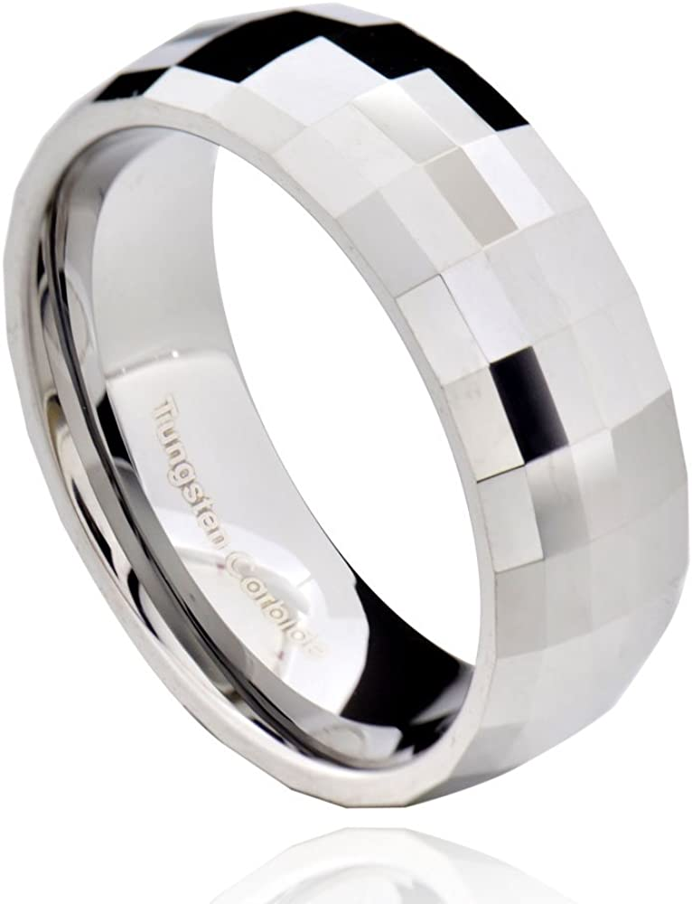 White Large-scale sale Tungsten 8mm Carbide Men's Faceted Band Ring New popularity Multi Wedding
