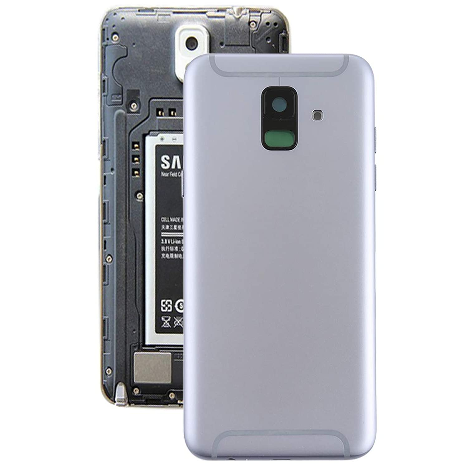 IPartsBuy Battery Cover Back Cover for Galaxy Back Cover with Side Keys & Camera Lens for Galaxy A6 (2018) / A600F(Black) (Color : Grey)