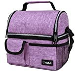OPUX Insulated Dual Compartment Lunch Bag for Women   Double Deck Reusable Lunch Pail Cooler Bag with Shoulder Strap, Soft Leakproof Liner   Large Lunch Box Tote for Work, School (Purple)