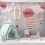 MGQSS Papier peint Peinture murale Fond de salle ballon dessin animé net fille rouge Art mural 3D Auto-adhésif PVC Peinture murale Nourriture et boissons Café Magasin Restaurant Vin (L)430x(H)300 cm