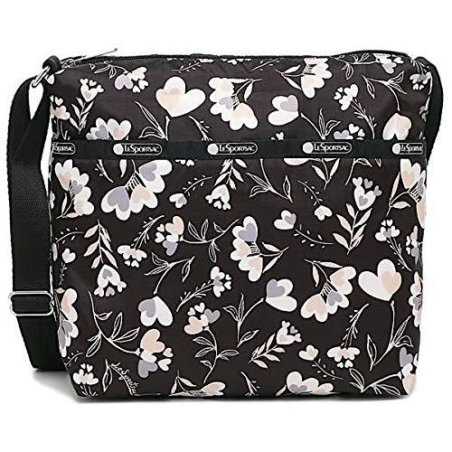 LeSportsac Lovely Night Small Cleo Crossbody Handbag, Style 7562/Color F534, Modern Multi-color Heart Flowers on Classic Black Bag