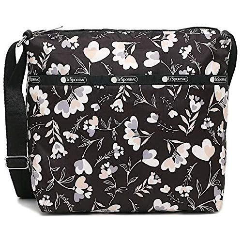 LeSportsac Lovely Night Small Cleo Crossbody Handbag, Style 7562/Color F534, Modern Multi-color Heart Flowers on Classic Black Bag