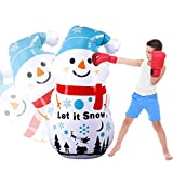 olyee Inflatable Christmas Snowman Punching 3-D Bop Bag, Kids Punching Inflatable Bag Children Sandbags Boxing Target Bag for Children and Adults