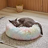 Uozzi Bedding Plush Faux Fur Round Pet Dog Bed, Comfortable Fuzzy Donut Cuddler Cushion for Dogs & Cats, Soft Shaggy and Warm for Winter (15'x15', Colorful Rainbow)