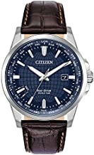 Citizen Men's World Time Perpetual Calendar Stainless Steel Quartz Watch with Leather Calfskin Strap, Brown, 22 (Model: BX1000-06L)