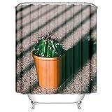 ANAZOZ Cortinas de Baño Impermeable Cactus Verde Cortina de Baño de Poliester Cortina Ducha...
