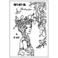 jokeWEN クリアスタンプ シリコンスタンプ 鳥の巣の女の子DIYシリコンクリアスタンプシールスクラップブックエンボスアルバムの装飾