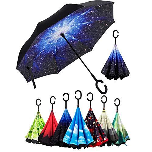 Doble Capa de Paraguas Invertido, Sol y la Lluvia Paraguas,Parasol de Protección contra el Viento Ultravioleta de Reversa con Mango en Forma de C para el Coche de Viajes al Aire Libre (Z)