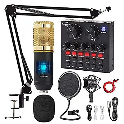 Streaming Microphone, MOSING Streaming Equipment Kit with Podcast Audio Mixer and Condenser Microphone BM800, Recording Microphone for PC/Laptop/Phone/Pad, Mic for Streaming/Podcasting/Recording