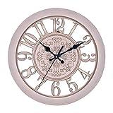 Reloj De Pared De Jardín Al Aire Libre, Reloj De Pared De Pared Creativo Retro Reloj De Cuarzo Reloj De Jardín Al Aire Libre Impermeable Para Exteriores Decoración Al Aire Libre, 28 Cm,Rosado