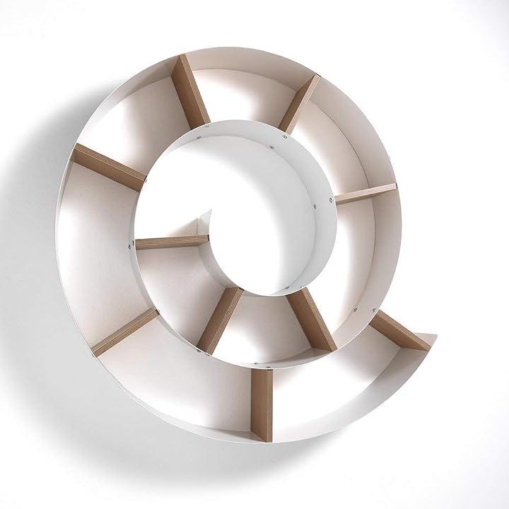 Libreria a chiocciola, metallo, bianco lucido, 13.5x105x105 cm wink design mensola da parete B073W66TXT