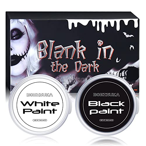 BOBISUKA Halloween Cosplay SFX Makeup Black + White Face Body Paint Special Effects Makeup Kit Dress Up Non Toxic Face Painting Kits for Adult Full Coverage Face Paint Fx Make Up