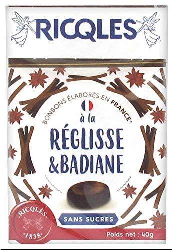 Ricqlès - Caramelos de regaliz y anís sin azúcares, 40 g