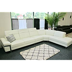 The Lorna Premium Leather White Sectional Sofa 10