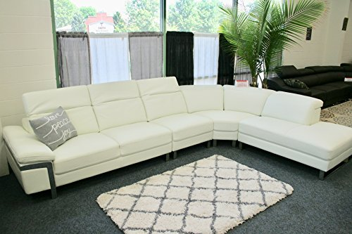 The Lorna Premium Leather White Sectional Sofa 1