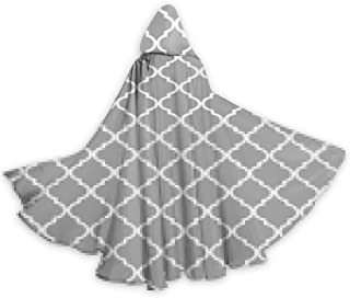 Adult Cape Cloak Moroccan Tile Gray and White Lattice Unisex Hooded Cloak Coat Witch Robe Cape Long Halloween Cosplay Party Cloak