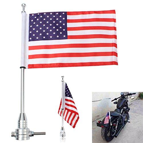 C-FUNN Universele Motorfiets Amerikaanse Vlag paal Bagage Rack Mount Voor Harley Silver