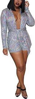 Prettyol Women 2 Piece Outfits Sets 2019 Long Sleeve Glitter Sequin Metallic Blazer and Bodycon Short Pants Jumpsuit
