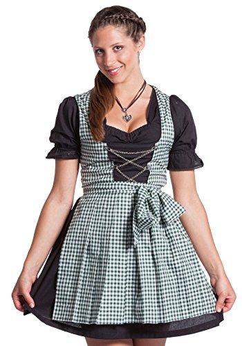 FROHSINN Mini Dirndl Tina - grün, weißes Oktoberfest Dirndlkleid Mini Dirndl Trachtenkleid (38)
