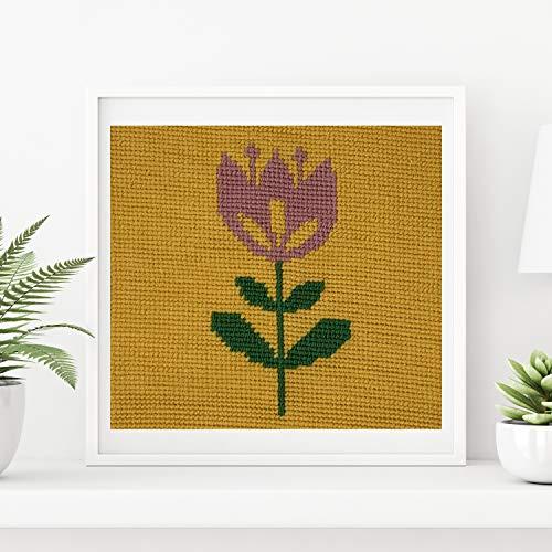 Punto de Cruz para niños | Kit de bordado en punto de cruz o medio punto | Cañamazo impreso 30 cm x 30 cm | Incluye lana y aguja de tapicería | de Delicatela (Tulipa)