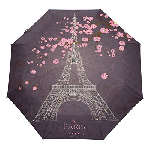Trushop Automatischer Regenschirm Vintage Paris Eiffel Tower Auto Umbrella Open Close Cherry Blossom Windproof Travel Umbrella Lightweight Compact Parasol Umbrellas Sun & Rain