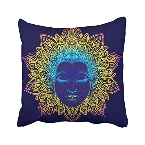Funda de almohada decorativa para el hogar, 20 x 20 cm, diseño de cara de buda sobre mandala redonda, esoteria, vintage, budismo indio, espiritual, hippie, funda de cojín decorativa, cuadrada, para sofá, accesorio para el hogar, regalos