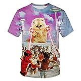 Casuales Camisas Hombre Verano Básico Holgado Cuello Redondo Hombre Shirt Moderno Interesante 3D Gato Estampado Hombre Manga Corta Luz Cómodo Hombre Camiseta T24423 XXL