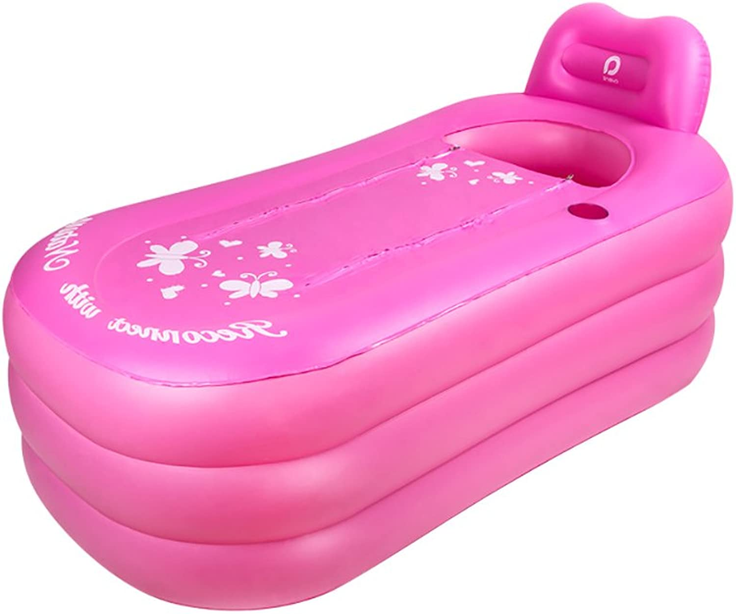 Peaceip Inflatable Adult Bath Pool Thickening Large Family Bath Insulation Swimming Pool (color   PINK, Size   130  80  70cm)