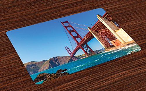 Lunarable Travel Place Mats Set of 4, San Francisco Golden Gate Bridge GGB from Marshall Beach in California USA Shore, Washable Fabric Placemats for Dining Table, Standard Size, Ivory Blue