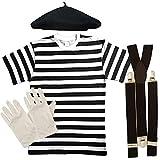 Disfraz de mimo francés, unisex, 4 piezas, para adultos