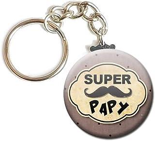 Porte Clés Chaînette 3,8 centimètres Super Papy Moustache Idée Cadeau Accessoire Papi Pépé Grand Père Parent